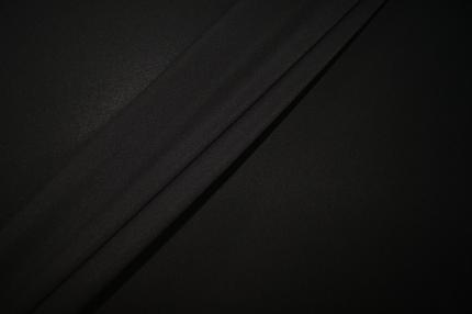 Шифон шёлковый чёрный с эластаном