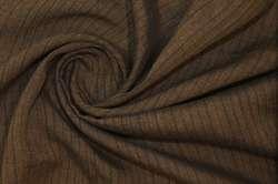 Лён с шёлком коричневый полоска