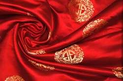 Парча шелковая красная