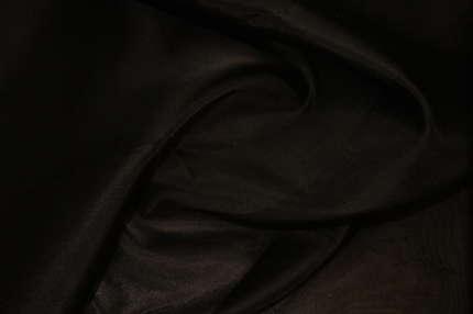 Органза шёлковая черная плотная