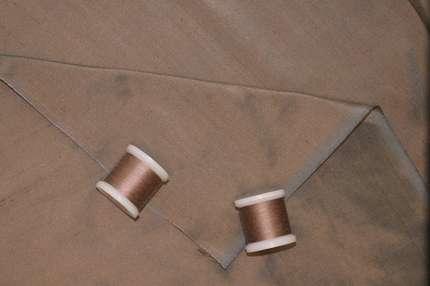 Дикий шелк дюпион (шантунг) коричнево-голубой