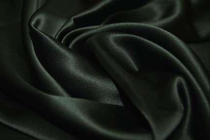 Атлас шелковый тёмно-зеленый