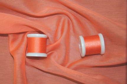 Батист шелковый оранжевый