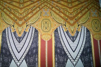 Атлас шелковый набивной с эластаном (стрейч) купон