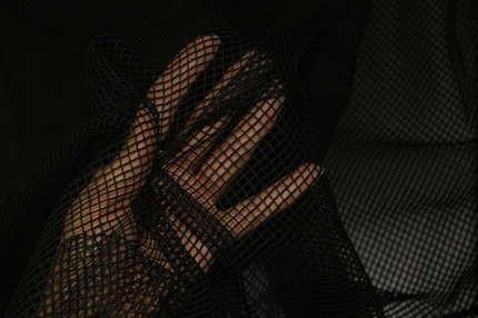 Сетка театральная черная хлопковая 0,5 см*0,5 см