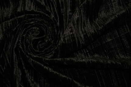 Бархат вискозный чёрный крэш
