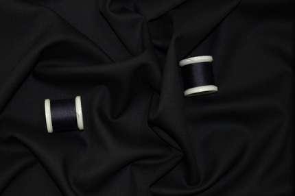 Шерсть стрейч плательно-костюмная черно-синяя