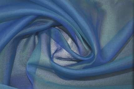 Органза шелковая голубой хамелеон