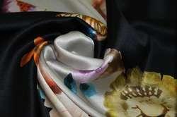 Атлас шелковый набивной с эластаном