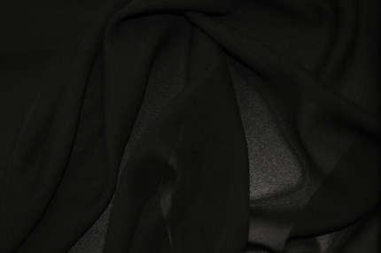 Шифон шелковый черный
